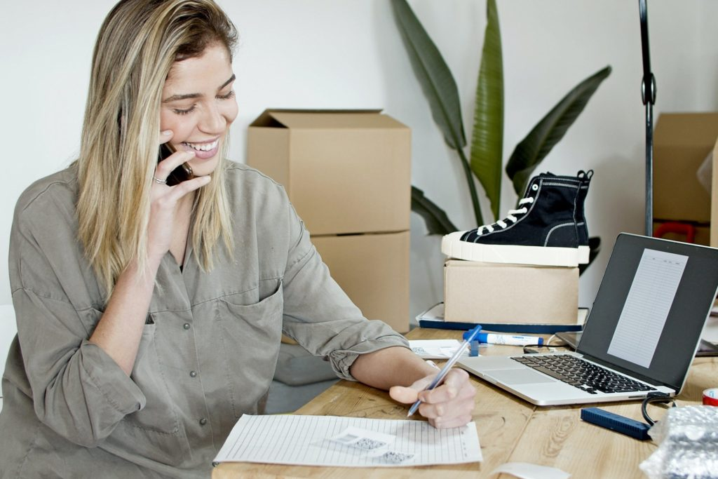 woman ringing delivery service