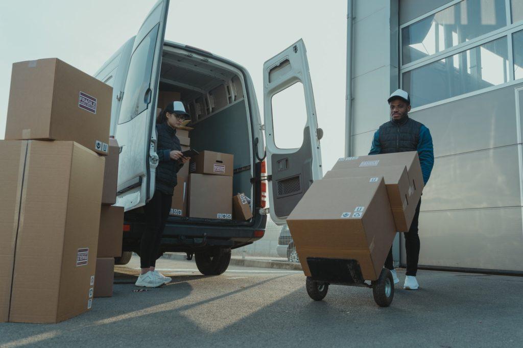 delivery man unloading van